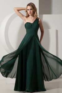 Chiffon One Shoulder Dark Green Formal Quince Dama Dresses