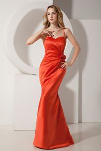 Mermaid Spaghetti Straps Quince Dama Dresses in Rust Red