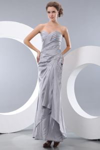 Sweetheart Ruched Beaded Gray Long Quinceanera Dama Dresses