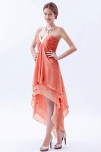 High-low Slot Neck Orange Quinceanera Dama Dress for Wholesale