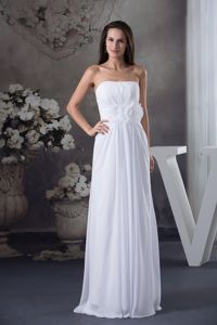 Empire White Long Bridesmaid Dama Dress with Handmade Flowers