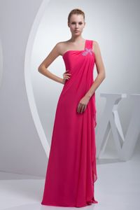 One Shoulder Long Dama Dresses for Quinceanera in Coral Red