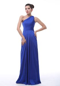 Fashionable One Shoulder Royal Blue Formal Quince Dama Dress