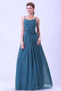 Spaghetti Straps Ruched Long Teal Damas Dresses with Flowers