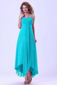 High-low Baby Blue Quince Dama Dresses with Spaghetti Straps