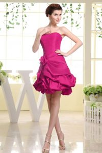 Vintage Hot Pink Short Quince Dama Dress with Flower Pick-ups