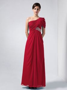 Unique One Shoulder Wine Red Long Formal Dresses for Damas