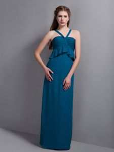 Best Straps Teal Floor-length 15 Dresses for Damas with Peplum