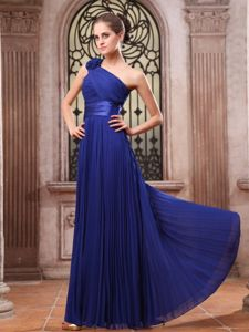 One Shoulder Flowers Pleated Royal Blue Long Dama Dresses