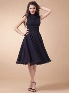 High-neck Navy Blue 15 Dress for Dama with Peekaboo Keyhole