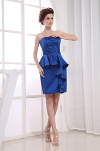 Strapless Mini Quince Dama Dresses in Royal Blue with Peplum