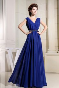 Empire V-neck Royal Blue Long Formal Quinceanera Dama Dress