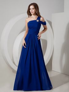 Plus Size One Shoulder Peacock Blue Long Quince Dama Dresses