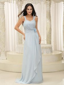 Brush Train Straps Ruched Baby Blue Quinceanera Damas Dresses