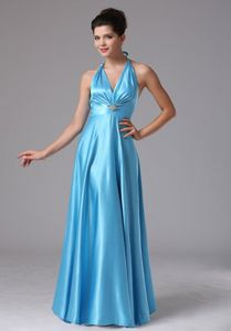 2013 Wholesale Floor-length Halter Top Baby Blue Dama Dresses