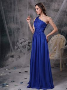 Brush Train One Shoulder Ruched Blue Quinceanera Dama Dresses