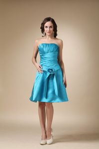 Strapless Ruched Teal Short 15 Dresses for Damas with Flower