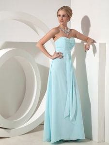 Pretty Long Baby Blue Quinceanera Dama Dresses with Beading