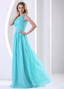 Side Zipper Ruched Aqua Blue Formal Dama Dress One Shoulder