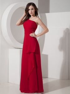 Simple Chiffon Red Long Dama Dress One Shoulder Under 100
