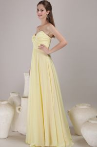 Girly Brush Train Ruched Yellow Dama Dresses for Quinceanera