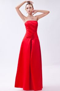 Fast Shipping Lace-up Beaded Red Long Quinceanera Dama Dress