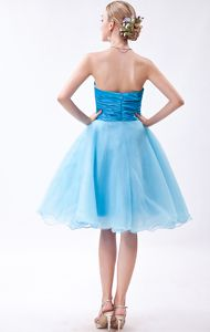 Puffy Organza Strapless Baby Blue Ruched Dama Dress Wholesale