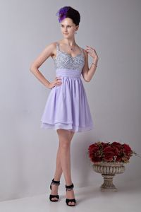 Lilac Short Quince Dama Dress with Straps and Rhinestones 2013
