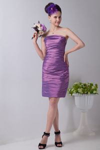 Popular Strapless Ruched Light Purple Short Quince Dama Dresses