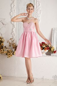 Knee-length Baby Pink Prom Dress for Dama with Beaded Bust