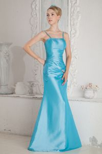 2013 Spaghetti Straps Aqua Blue Long Formal Dama Dress Designer