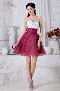 White And Burgundy Short Organza Quince Dama Dress with Beads
