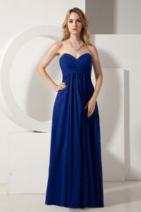 Royal Blue Formal Dress for Damas with Beaded Sweetheat Neck