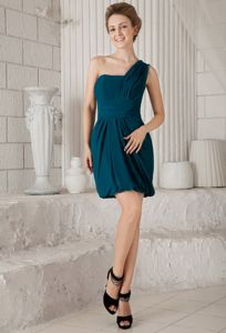 Lovely One Shoulder Min Dama Dresses for Quinceanera in Teal