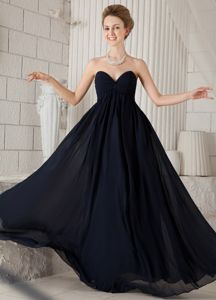 Black Formal Bridesmaid Dama Dresses Sweetheart Floor-length
