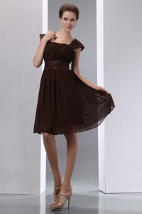 Square Neck Cap Sleeves Short Brown Quinceanera Dama Dress