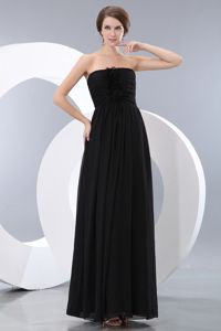 Fabulous Strapless Floor-length Black Long Quince Dama Dresses