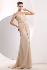 Pretty Spaghetti Straps Brush Train Champagne Dama Dress 2013