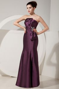 Floor-length Lace-up Bridesmaid Dama Dresses in Dark Purple