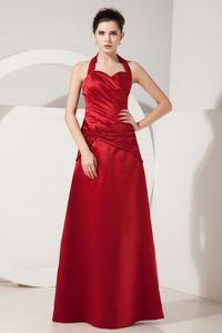 Popular Taffeta Red Ruched Dama Dress Floor-length Halter Top
