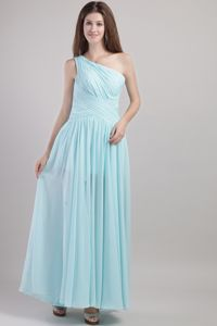 One Shoulder Ruched Long Bridesmaid Dama Dress in Light Blue