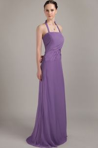 Simple Brush Train Halter Purple Long Formal Dresses for Damas