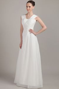 Custom Made Square Neck White Long Quince Dama Dresses