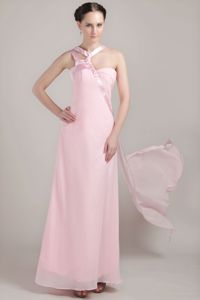 Baby Pink Dama Dress for Quinceaneras with Asymmetrical Neck