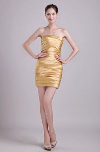 Gold Strapless Short Taffeta Ruched Bridesmaid Dama Dresses