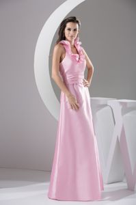 Floor-length Flounced Halter Top Pink Quinceanera Dama Dresses