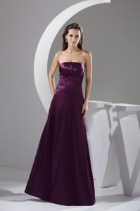 Ruffled Ruched Strapless Full Length Dresses For Damas in Purple