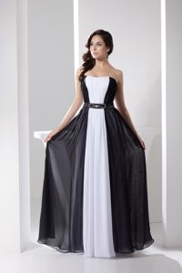 White and Black Strapless Long Dama Dresses with Beaded Belt