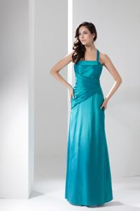 Ruched Halter Top Ankle-length Dresses For Damas in Turquoise