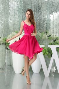 Chiffon Hot Pink Quinceanera Dama Dresses with Spaghetti Straps